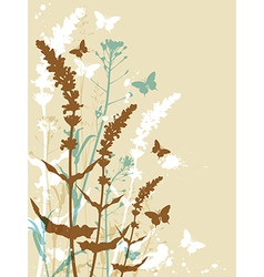 Decorative floral background with butterflies vector