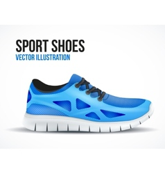 Running blue shoes bright sport sneakers symbol vector