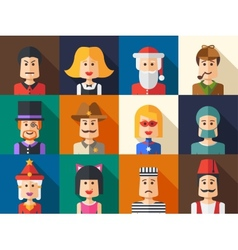 Set of isolated flat design people icon avatars vector