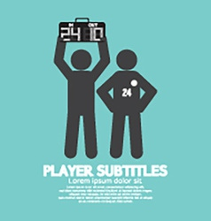 Player substitution graphic symbol vector