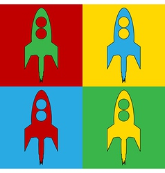 Pop art starting rocket icons vector