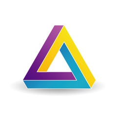 Pen rose triangle- tricolor 3d business logo vector