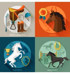 Backgrounds with horse equipment in flat style vector