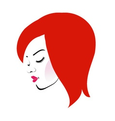 Beautiful redhead wearing a red lipstick vector