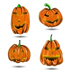 Halloween pumpkin set isolated on white scary jack vector