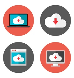 Cloud services flat icons set vector