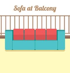 Colorful empty sofa at balcony vector