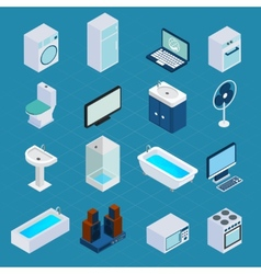 Isometric household appliances vector