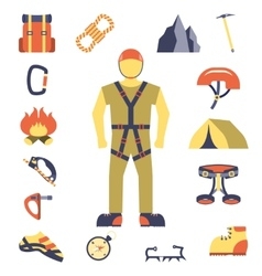 Climber gear equipment icons flat vector