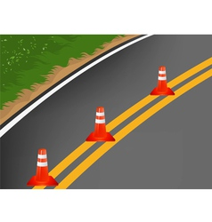 Road with traffic cones cartoon background vector