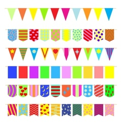 Set garlands of colored flags vector