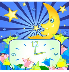 Cheerful background with the moon and the clock vector