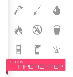 Black firefighter icon set vector