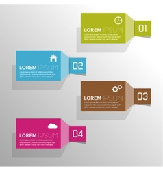 Plain colored paper stickers with numbers and vector