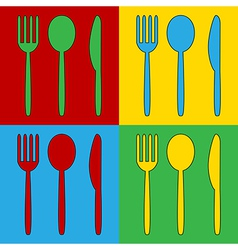 Pop art fork spoon and knife icons vector