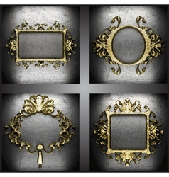 Golden frames set vector