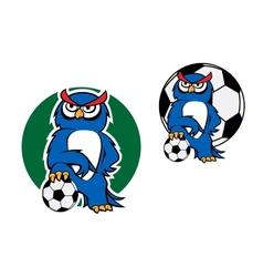Cartoon owl character with football ball vector