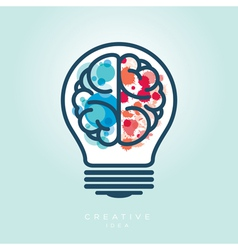 Creative light bulb left and right brain idea icon vector