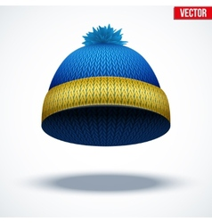 Knitted woolen cap winter seasonal blue hat vector