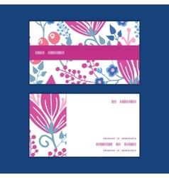 Pink flowers horizontal stripe frame vector