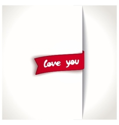 Red ribbon - love you vector