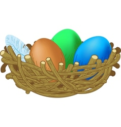Three colored eggs lie in a nest easter vector