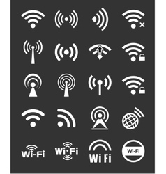 Set of twenty wifi icons vector