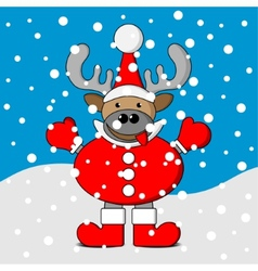 Smiling christmas reindeer with snow vector