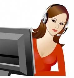 Young beautiful girl telephone operator vector