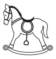 Rocking horse plain in black and white vector