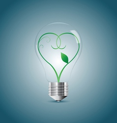 Bulb lamp with green sprout inside vector