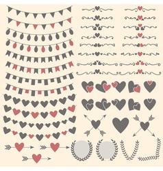 Wedding set of hearts arrows garlands laurel vector