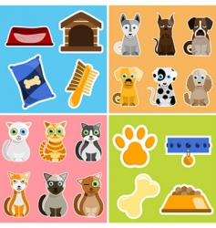 Pet animals and objects vector