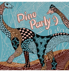 Dino party decorative card with zentangle elements vector