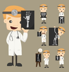 Set of doctor characters with x-ray ultrasound vector