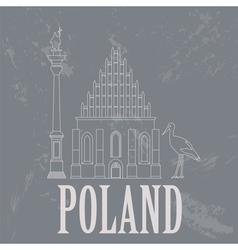 Poland landmarks retro styled image vector