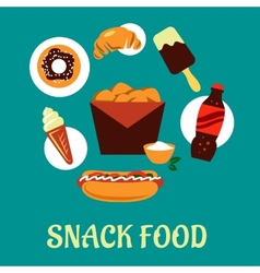 Snacks set with fast food elements vector