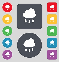 Weather rain icon sign a set of 12 colored buttons vector
