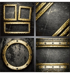 Gold on concrete wall set vector