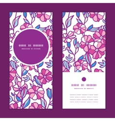 Vibrant field flowers vertical round frame pattern vector