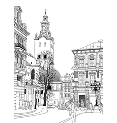 Sketch of lviv historical building vector