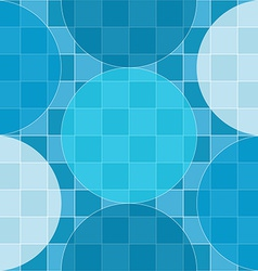 Seamless pattern of blue circles over checker vector