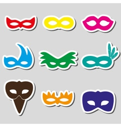 Carnival rio color stickers masks simple icons set vector