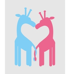 Love heart giraffe couple vector