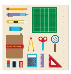 School stationery supplies vector