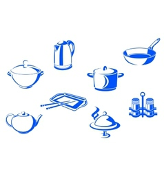 Kitchen dishware vector