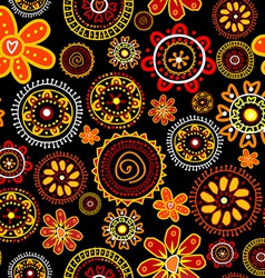 Floral doodle seamless on black background vector