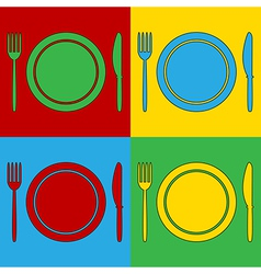 Pop art fork plate and knife icons vector