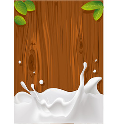 Splash of milk with wood texture for background vector