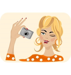 Girl with camera vector